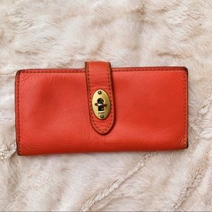 Fossil Orange Leather Clasp Wallet